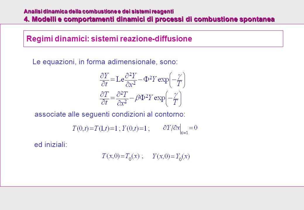 Analisi dinamica della combustione e dei sistemi reagenti 4. Modelli e comportamenti dinamici di processi di combustione spontanea Le equazioni, in fo