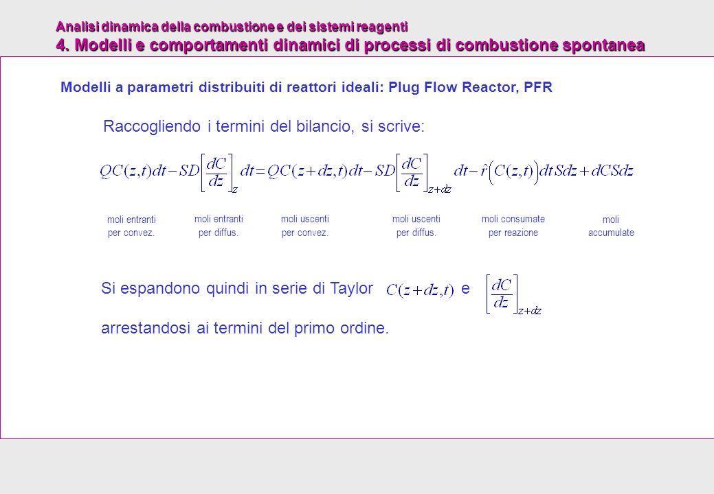 Analisi dinamica della combustione e dei sistemi reagenti 4. Modelli e comportamenti dinamici di processi di combustione spontanea Raccogliendo i term