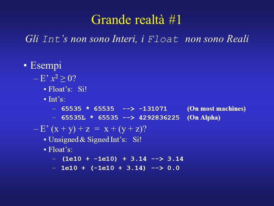 Grande realtà #1 Gli Int s non sono Interi, i Float non sono Reali Esempi –E x 2 0.