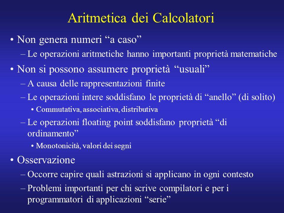 Aritmetica dei Calcolatori Non genera numeri a caso –Le operazioni aritmetiche hanno importanti proprietà matematiche Non si possono assumere proprietà usuali –A causa delle rappresentazioni finite –Le operazioni intere soddisfano le proprietà di anello (di solito) Commutativa, associativa, distributiva –Le operazioni floating point soddisfano proprietà di ordinamento Monotonicità, valori dei segni Osservazione –Occorre capire quali astrazioni si applicano in ogni contesto –Problemi importanti per chi scrive compilatori e per i programmatori di applicazioni serie