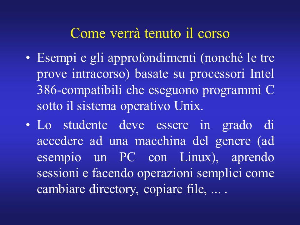 Come verrà tenuto il corso Esempi e gli approfondimenti (nonché le tre prove intracorso) basate su processori Intel 386-compatibili che eseguono programmi C sotto il sistema operativo Unix.