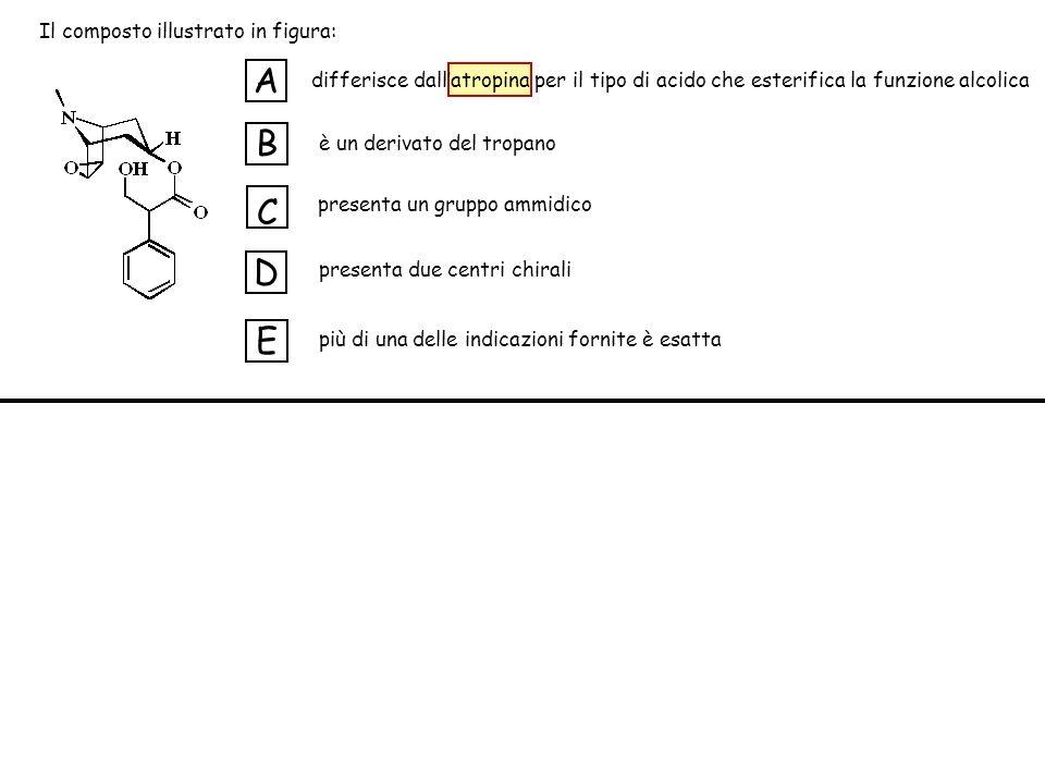 differisce dallatropina per il tipo di acido che esterifica la funzione alcolica è un derivato del tropano presenta un gruppo ammidico presenta due centri chirali più di una delle indicazioni fornite è esatta A B C D E Il composto illustrato in figura: