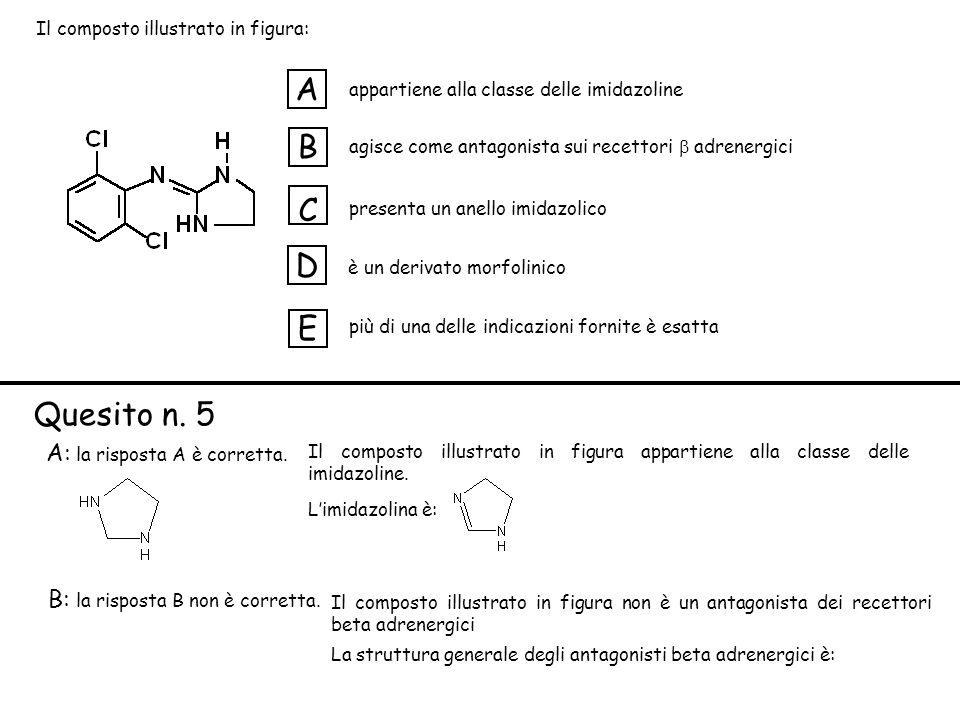 appartiene alla classe delle imidazoline agisce come antagonista sui recettori adrenergici presenta un anello imidazolico è un derivato morfolinico più di una delle indicazioni fornite è esatta A B C D E A: la risposta A è corretta.