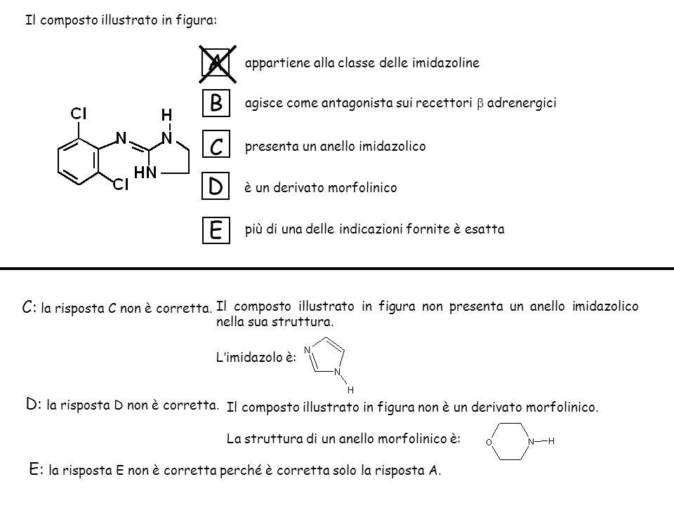 appartiene alla classe delle imidazoline agisce come antagonista sui recettori adrenergici presenta un anello imidazolico è un derivato morfolinico più di una delle indicazioni fornite è esatta A B C D E C: la risposta C non è corretta.