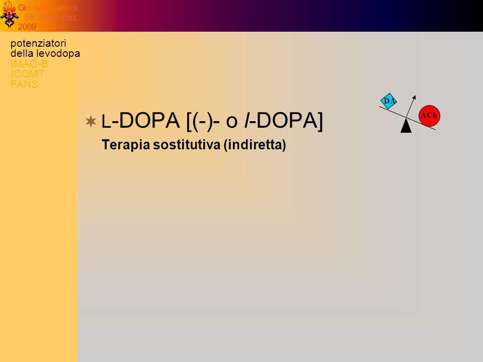 Giovanni Lentini Str. Spec. Enz. 2009 DA ACh L -DOPA [(-)- o l-DOPA] Terapia sostitutiva (indiretta) potenziatori della levodopa IMAO-B ICOMT FANS
