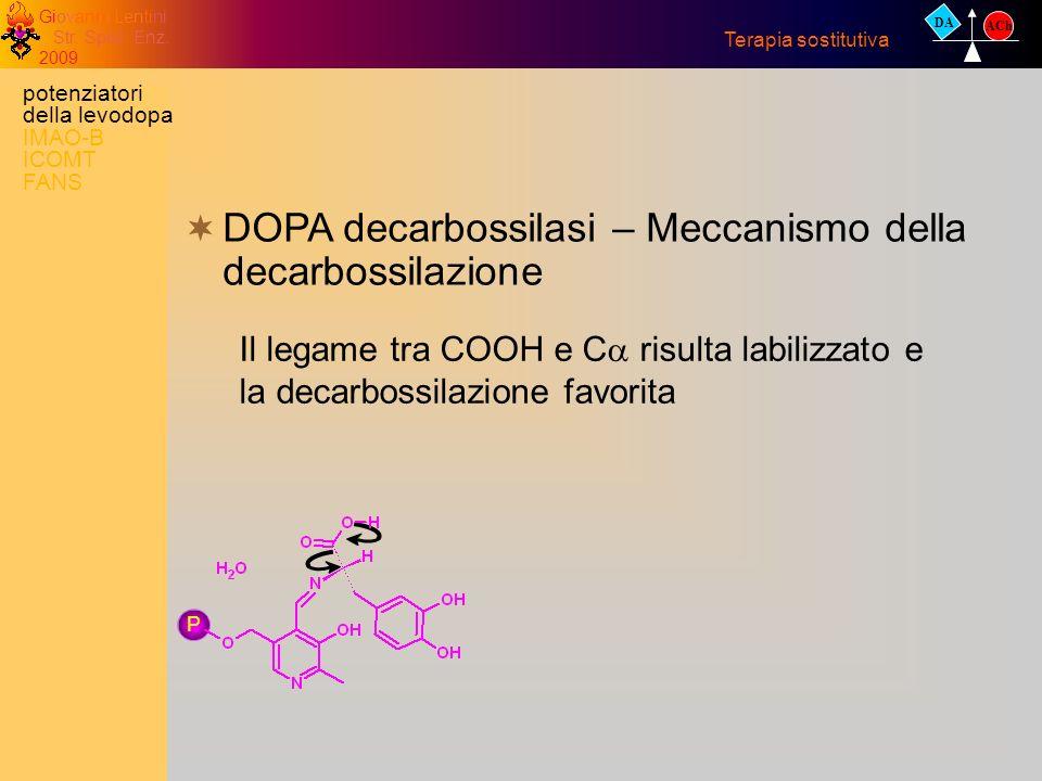 Giovanni Lentini Str. Spec. Enz. 2009 DA ACh Terapia sostitutiva DOPA decarbossilasi – Meccanismo della decarbossilazione Il legame tra COOH e C risul