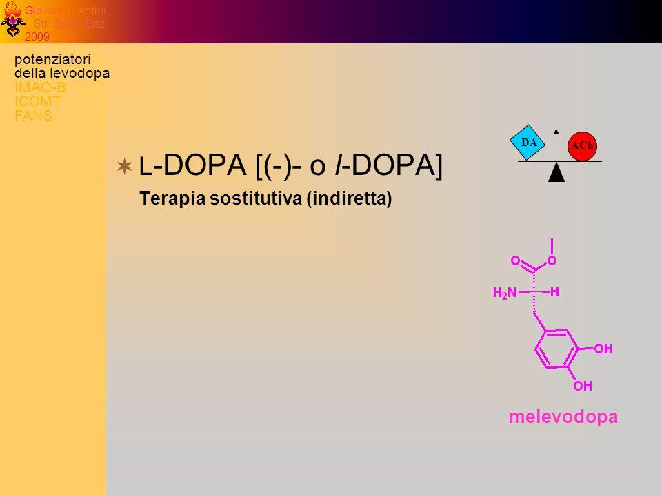 Giovanni Lentini Str. Spec. Enz. 2009 DA ACh L -DOPA [(-)- o l-DOPA] Terapia sostitutiva (indiretta) melevodopa potenziatori della levodopa IMAO-B ICO
