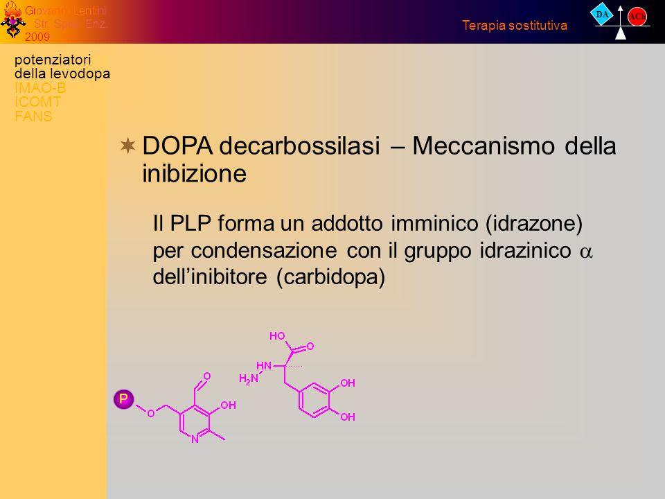 Giovanni Lentini Str. Spec. Enz. 2009 DA ACh Terapia sostitutiva DOPA decarbossilasi – Meccanismo della inibizione P Il PLP forma un addotto imminico