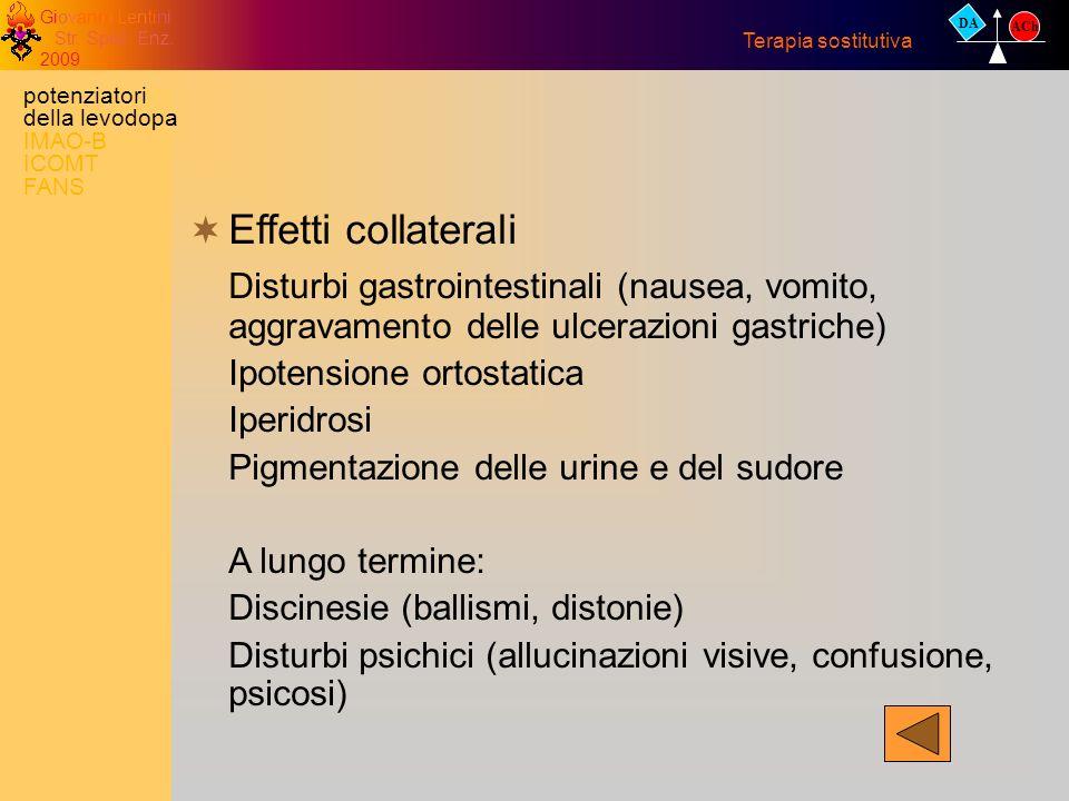 Giovanni Lentini Str. Spec. Enz. 2009 Effetti collaterali Disturbi gastrointestinali (nausea, vomito, aggravamento delle ulcerazioni gastriche) Ipoten