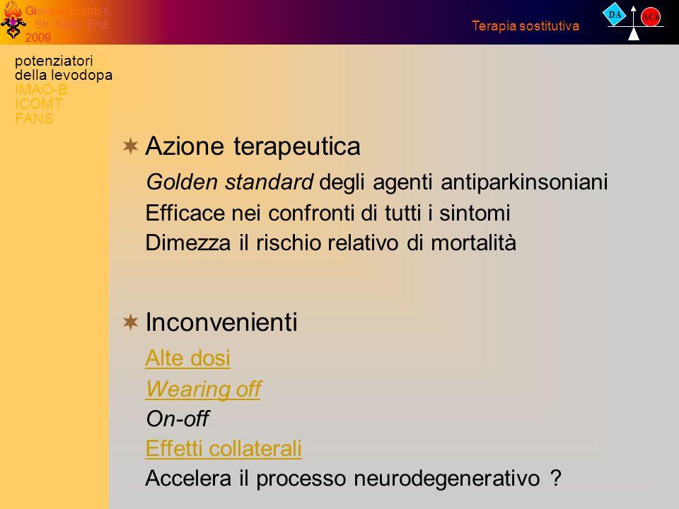 Giovanni Lentini Str. Spec. Enz. 2009 Azione terapeutica Golden standard degli agenti antiparkinsoniani Efficace nei confronti di tutti i sintomi Dime