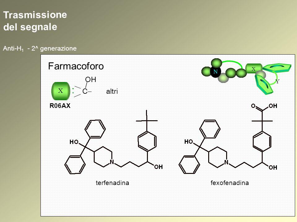 Trasmissione del segnale Anti-H 1 - 2^ generazione N X Y Farmacoforo X : R06AX C altri terfenadinafexofenadina OH