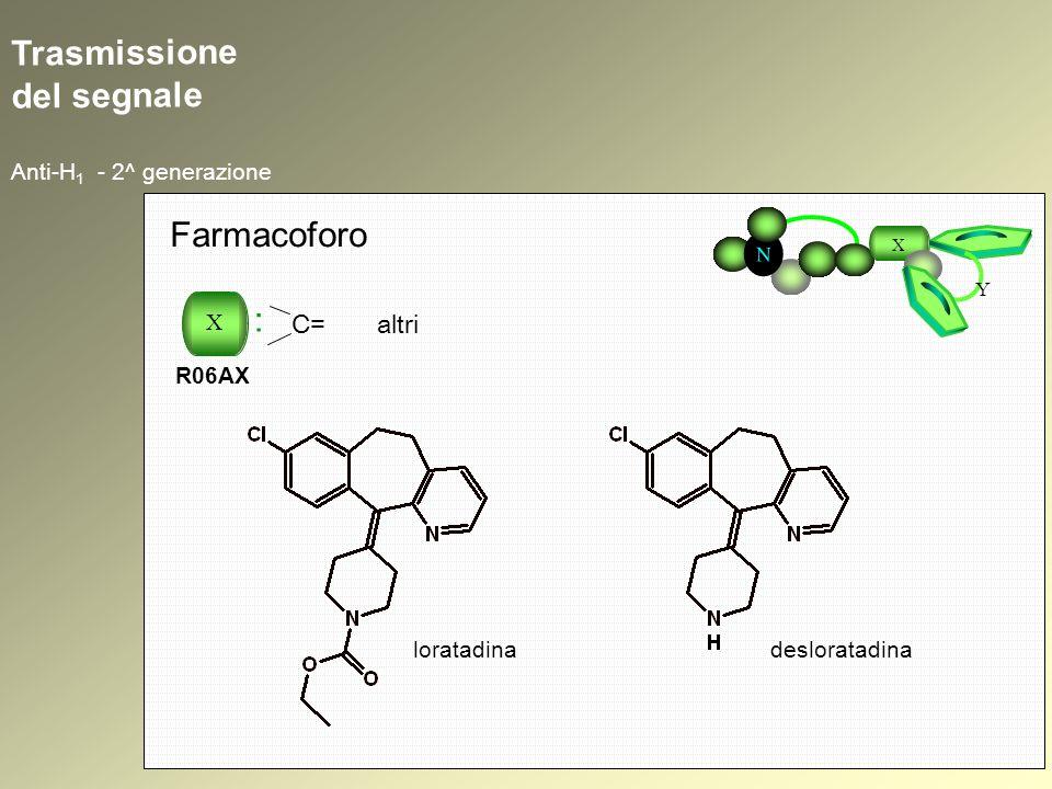 Trasmissione del segnale Anti-H 1 - 2^ generazione N X Y Farmacoforo loratadinadesloratadina X : R06AX C= altri
