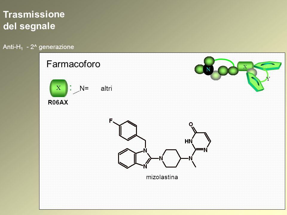 Trasmissione del segnale Anti-H 1 - 2^ generazione N X Y Farmacoforo X : R06AX N= altri mizolastina