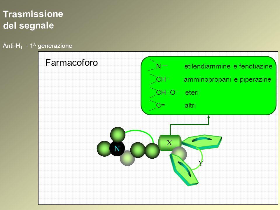Trasmissione del segnale Anti-H 1 - 1^ generazione N N X Y Farmacoforo N etilendiammine e fenotiazine CH amminopropani e piperazine CH O eteri C= altr