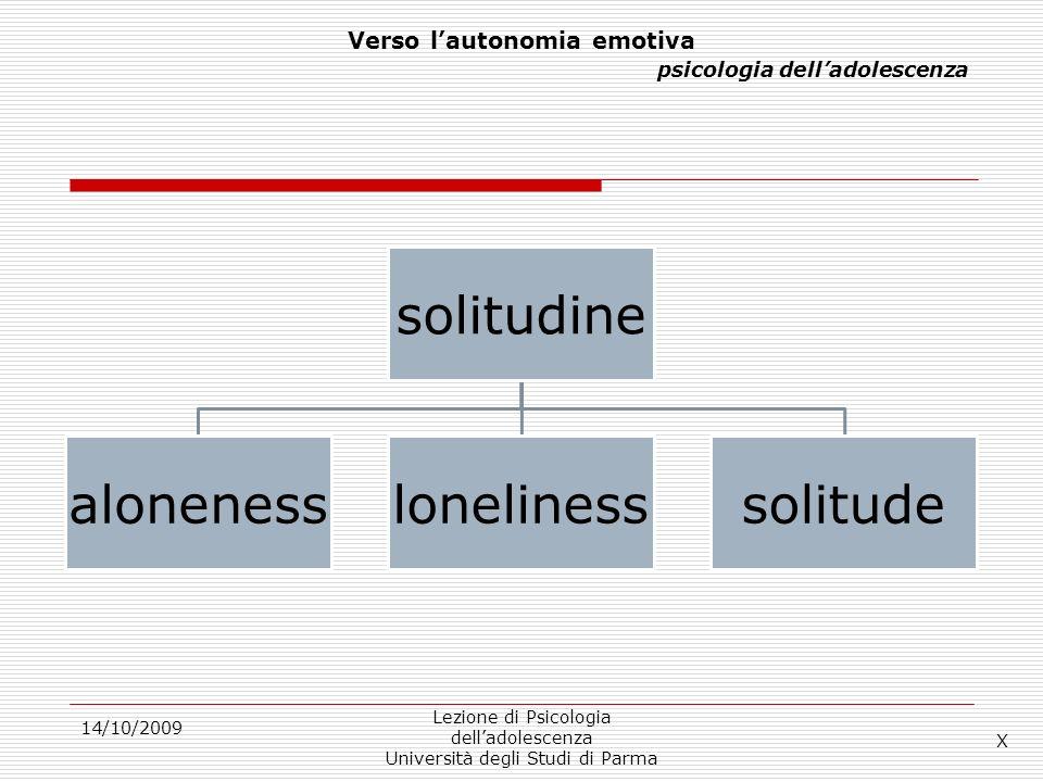14/10/2009 Lezione di Psicologia delladolescenza Università degli Studi di Parma Verso lautonomia emotiva psicologia delladolescenza solitudine alonen