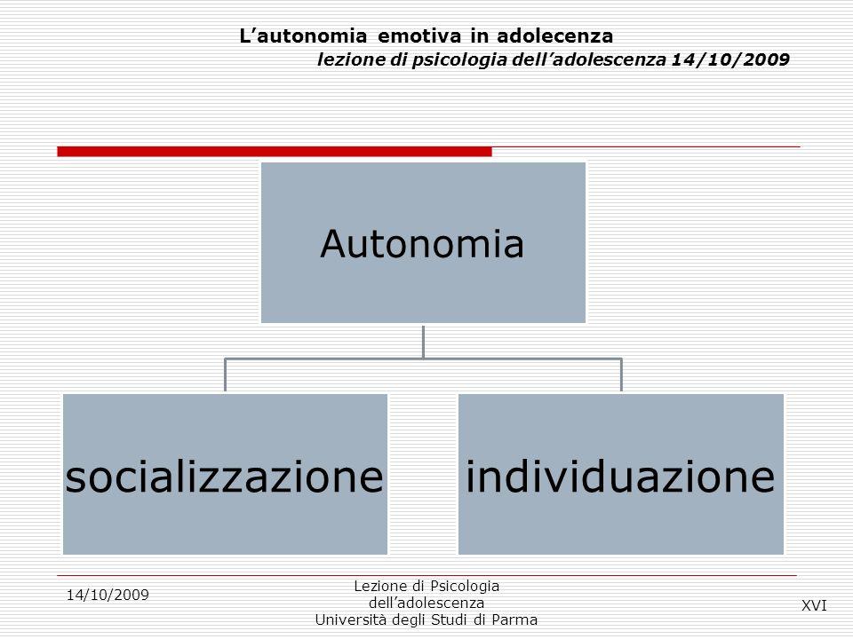 14/10/2009 Lezione di Psicologia delladolescenza Università degli Studi di Parma Lautonomia emotiva in adolecenza lezione di psicologia delladolescenz