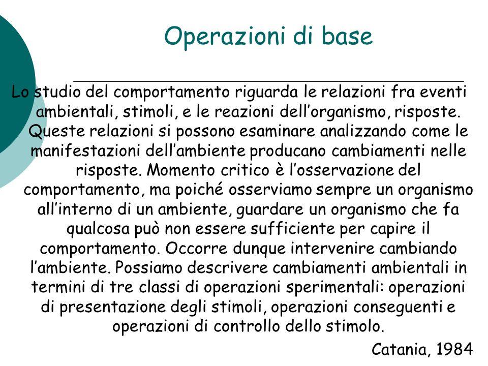 Operazioni di base Lo studio del comportamento riguarda le relazioni fra eventi ambientali, stimoli, e le reazioni dellorganismo, risposte. Queste rel