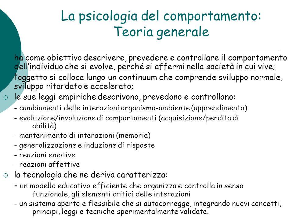 La psicologia del comportamento: Teoria generale ha come obiettivo descrivere, prevedere e controllare il comportamento dellindividuo che si evolve, p