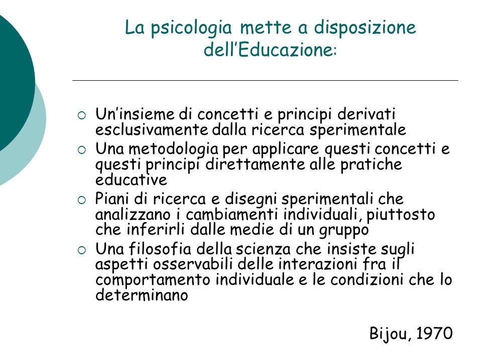 La psicologia mette a disposizione dellEducazione : Uninsieme di concetti e principi derivati esclusivamente dalla ricerca sperimentale Una metodologi