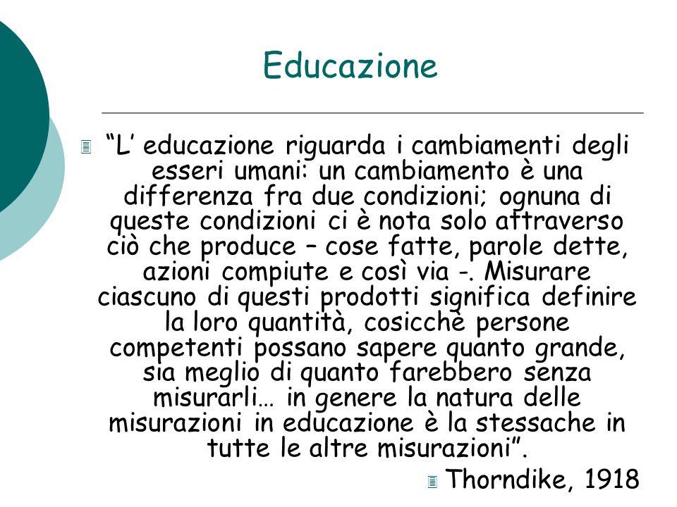 Educazione 3 L educazione riguarda i cambiamenti degli esseri umani: un cambiamento è una differenza fra due condizioni; ognuna di queste condizioni c