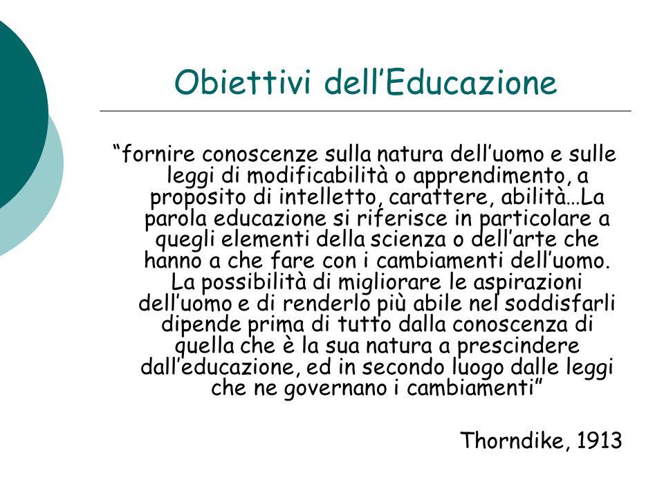 Obiettivi dellEducazione fornire conoscenze sulla natura delluomo e sulle leggi di modificabilità o apprendimento, a proposito di intelletto, caratter