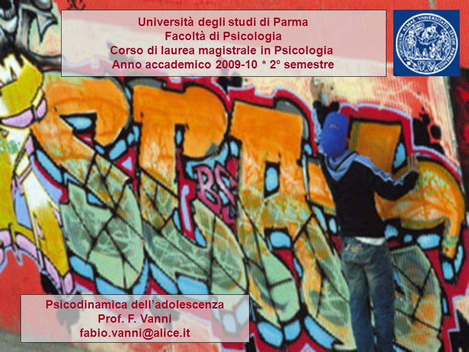 1 Università degli studi di Parma Facoltà di Psicologia Corso di laurea magistrale in Psicologia Anno accademico 2009-10 * 2° semestre Psicodinamica d