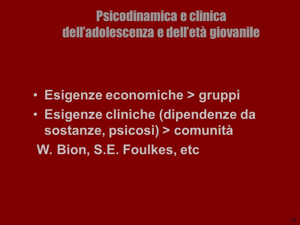 10 Psicodinamica e clinica delladolescenza e delletà giovanile Esigenze economiche > gruppi Esigenze cliniche (dipendenze da sostanze, psicosi) > comu