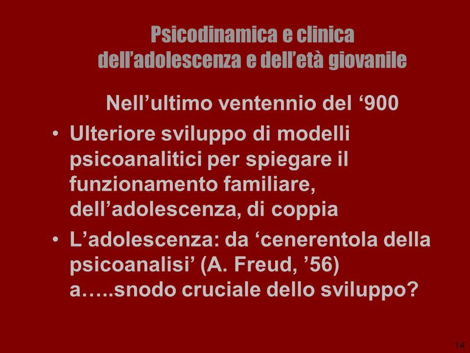 14 Psicodinamica e clinica delladolescenza e delletà giovanile Nellultimo ventennio del 900 Ulteriore sviluppo di modelli psicoanalitici per spiegare