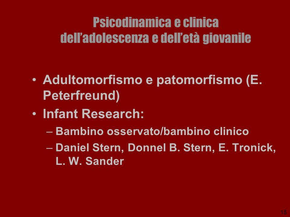 15 Psicodinamica e clinica delladolescenza e delletà giovanile Adultomorfismo e patomorfismo (E. Peterfreund) Infant Research: –Bambino osservato/bamb