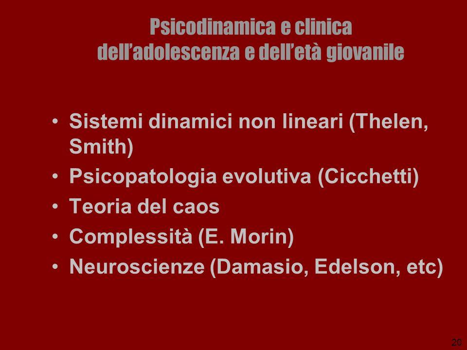 20 Psicodinamica e clinica delladolescenza e delletà giovanile Sistemi dinamici non lineari (Thelen, Smith) Psicopatologia evolutiva (Cicchetti) Teori