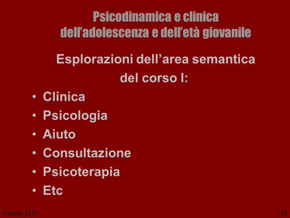 9 marzo 201023 Psicodinamica e clinica delladolescenza e delletà giovanile Esplorazioni dellarea semantica del corso I: Clinica Psicologia Aiuto Consu