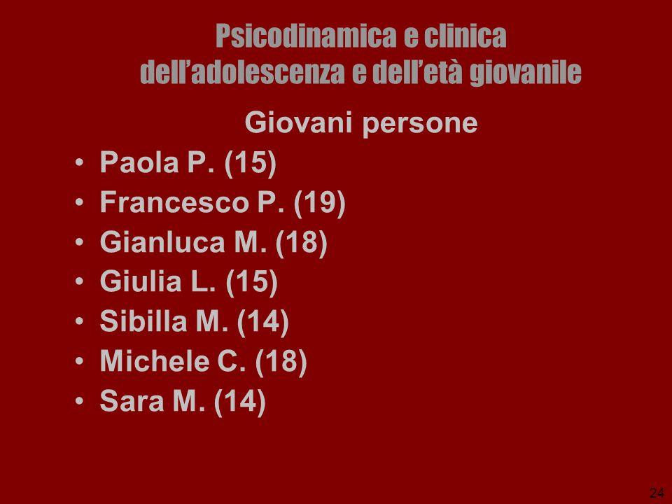 24 Psicodinamica e clinica delladolescenza e delletà giovanile Giovani persone Paola P. (15) Francesco P. (19) Gianluca M. (18) Giulia L. (15) Sibilla