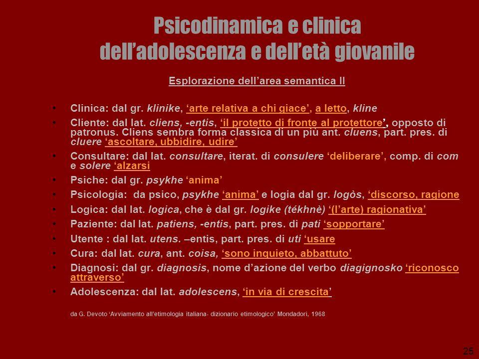 25 Psicodinamica e clinica delladolescenza e delletà giovanile Esplorazione dellarea semantica II Clinica: dal gr. klinike, arte relativa a chi giace,