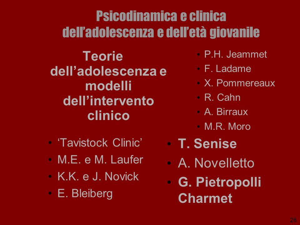 26 Psicodinamica e clinica delladolescenza e delletà giovanile P.H. Jeammet F. Ladame X. Pommereaux R. Cahn A. Birraux M.R. Moro Tavistock Clinic M.E.