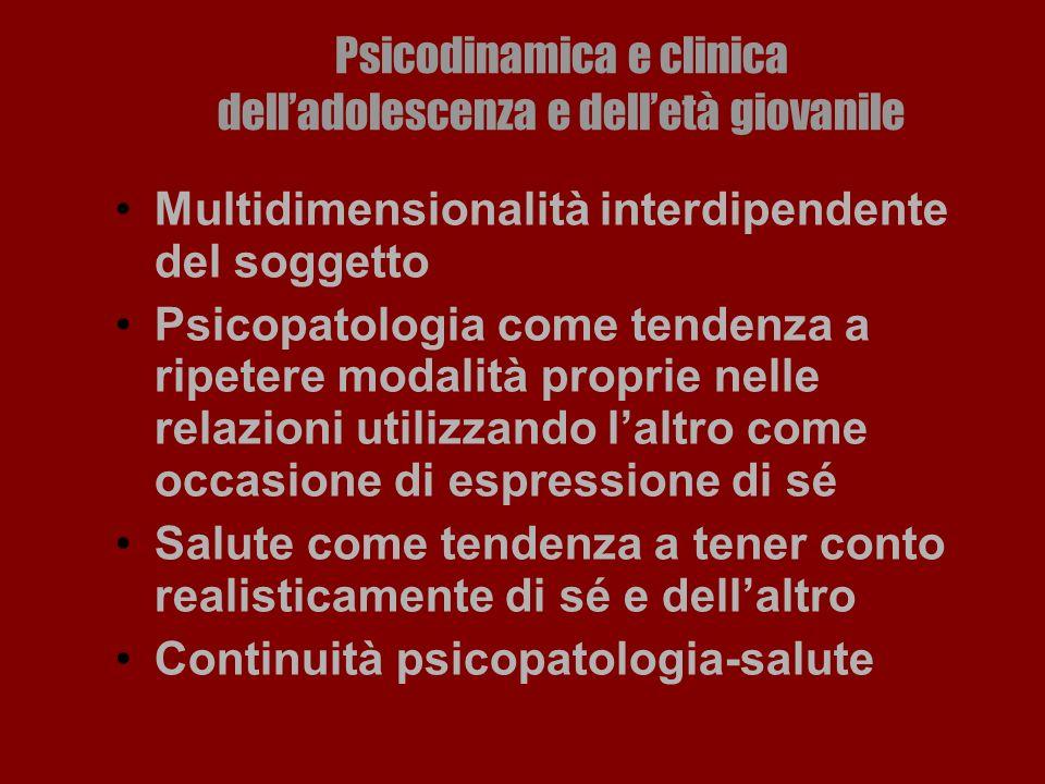 Psicodinamica e clinica delladolescenza e delletà giovanile Multidimensionalità interdipendente del soggetto Psicopatologia come tendenza a ripetere m