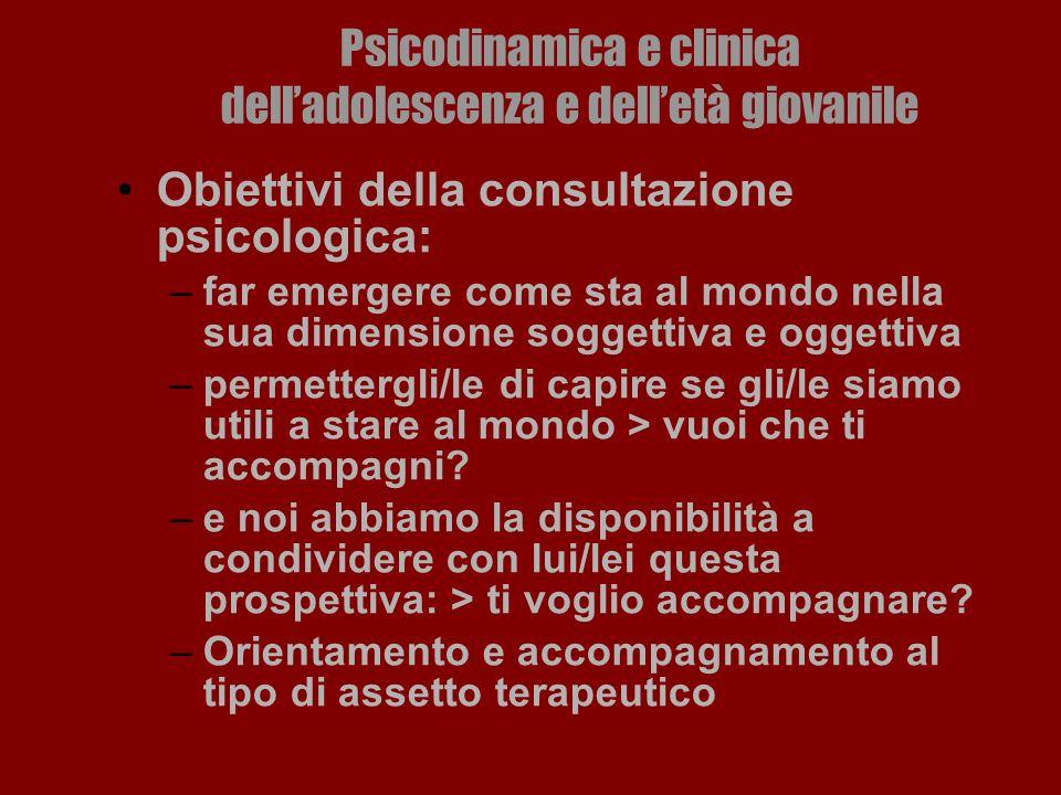Psicodinamica e clinica delladolescenza e delletà giovanile Obiettivi della consultazione psicologica: –far emergere come sta al mondo nella sua dimen