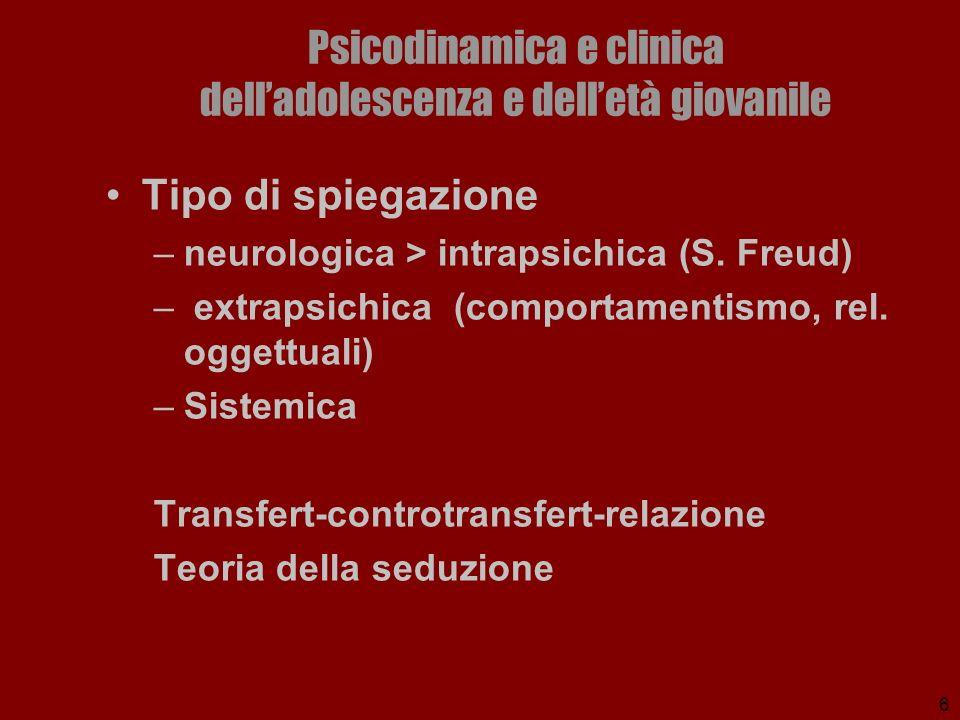 6 Psicodinamica e clinica delladolescenza e delletà giovanile Tipo di spiegazione –neurologica > intrapsichica (S. Freud) – extrapsichica (comportamen