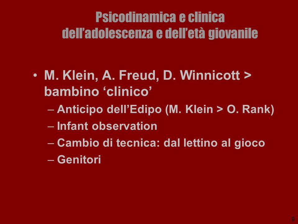 9 Psicodinamica e clinica delladolescenza e delletà giovanile M. Klein, A. Freud, D. Winnicott > bambino clinico –Anticipo dellEdipo (M. Klein > O. Ra