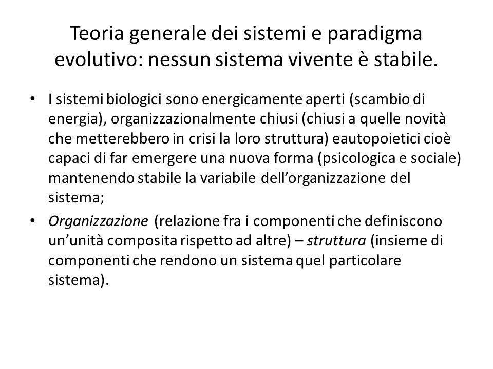 Teoria generale dei sistemi e paradigma evolutivo: nessun sistema vivente è stabile. I sistemi biologici sono energicamente aperti (scambio di energia