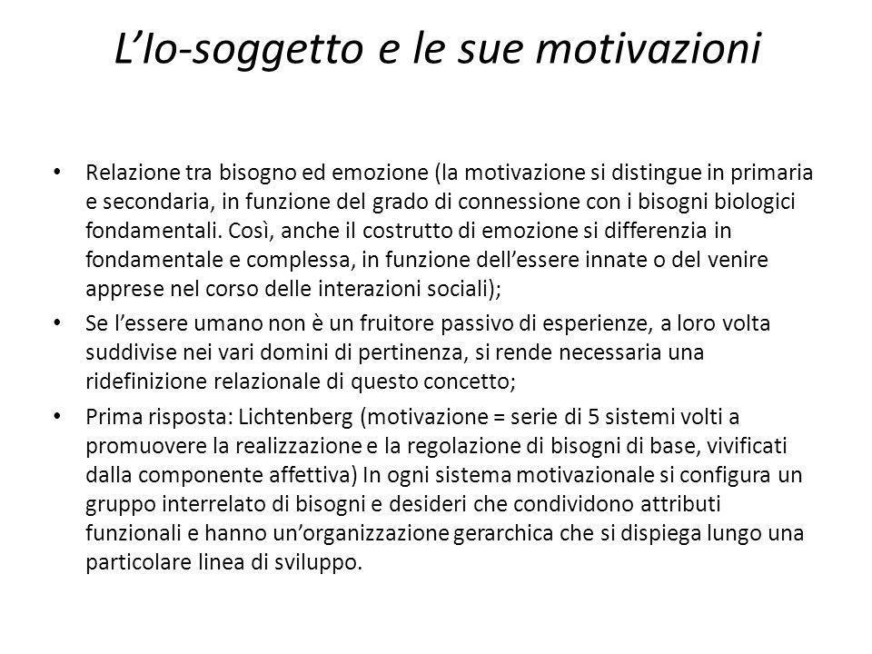 LIo-soggetto e le sue motivazioni Relazione tra bisogno ed emozione (la motivazione si distingue in primaria e secondaria, in funzione del grado di co