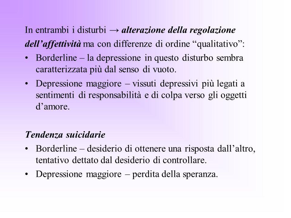 In entrambi i disturbi alterazione della regolazione dellaffettività ma con differenze di ordine qualitativo: Borderline – la depressione in questo di