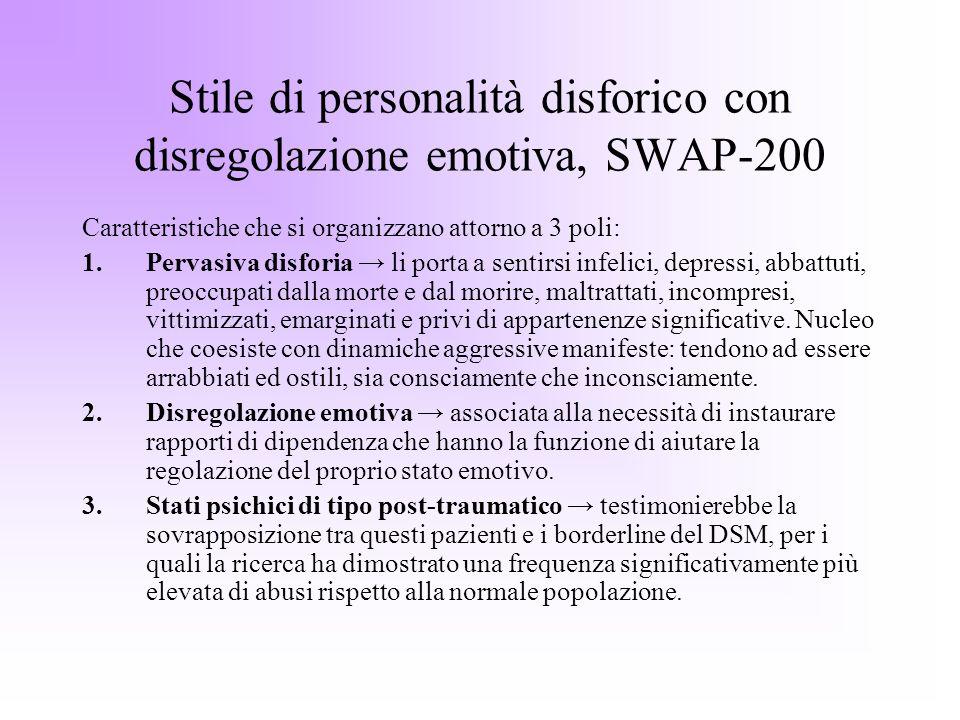 Stile di personalità disforico con disregolazione emotiva, SWAP-200 Caratteristiche che si organizzano attorno a 3 poli: 1.Pervasiva disforia li porta