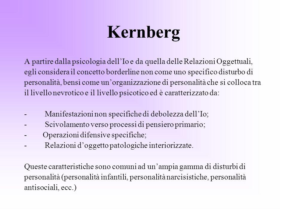 Kernberg A partire dalla psicologia dellIo e da quella delle Relazioni Oggettuali, egli considera il concetto borderline non come uno specifico distur