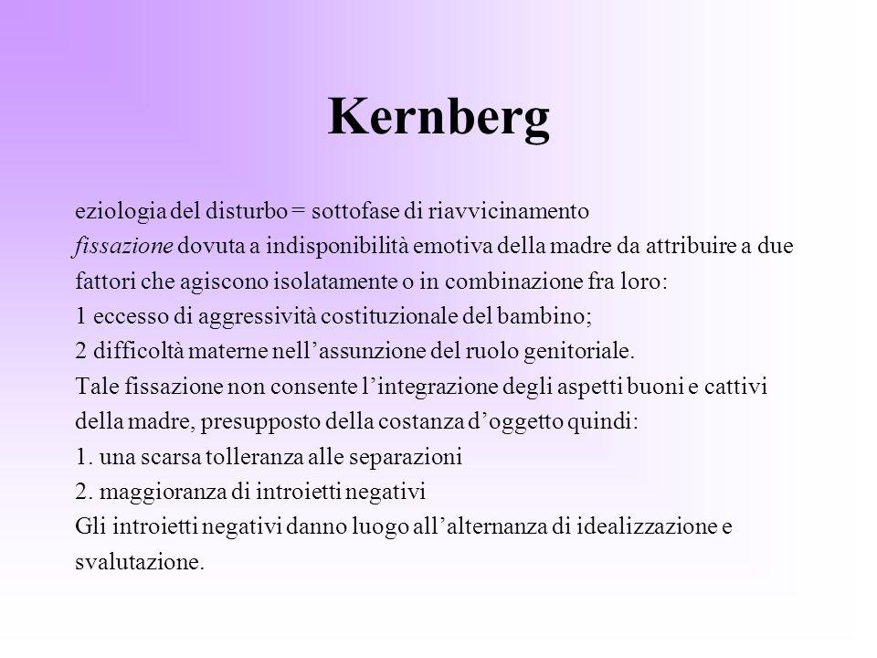 Kernberg eziologia del disturbo = sottofase di riavvicinamento fissazione dovuta a indisponibilità emotiva della madre da attribuire a due fattori che