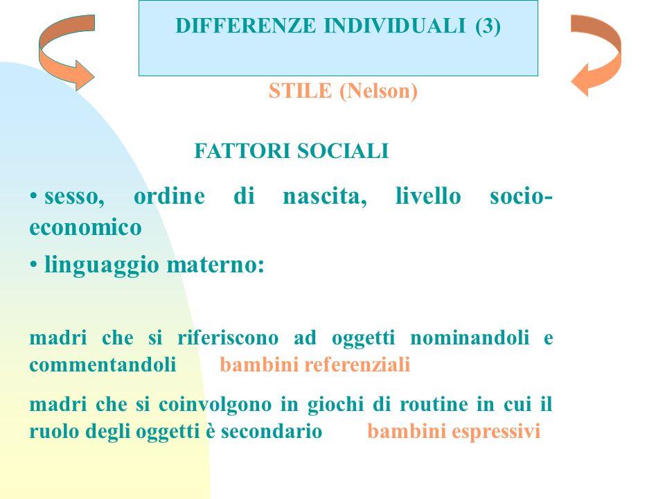 DIFFERENZE INDIVIDUALI (3) STILE (Nelson) FATTORI SOCIALI sesso, ordine di nascita, livello socio- economico linguaggio materno: madri che si riferisc