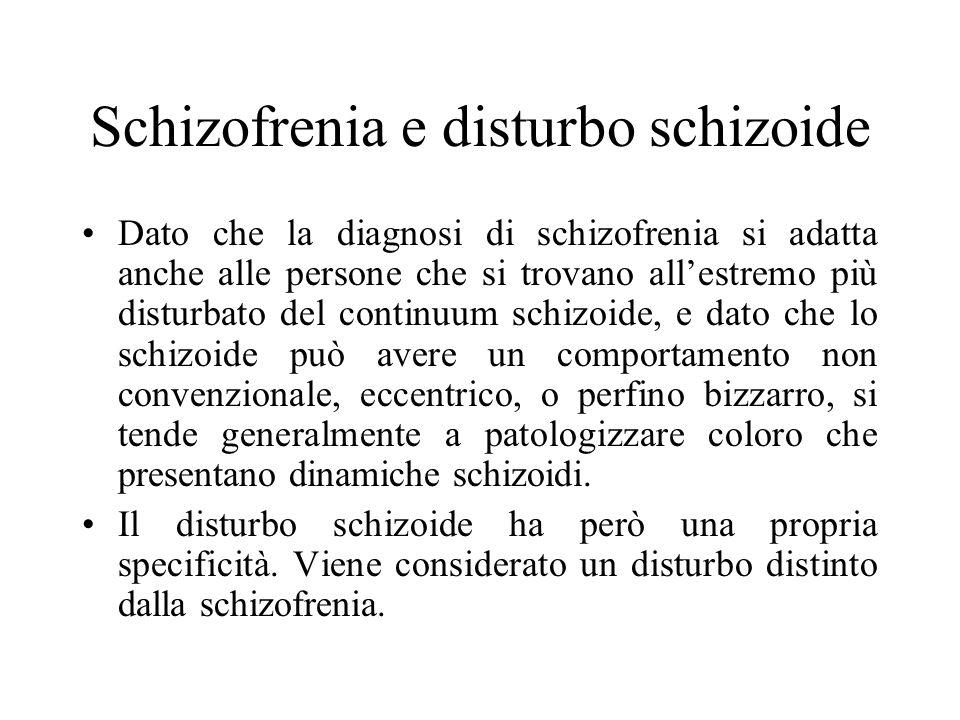 Gabbard = la schizofrenia è una patologia che presenta tre raggruppamento di sintomi: positivi o floridi: costituiscono la presenza della malattia; riguardano disturbi del contenuto del pensiero (DELIRI), disturbi della percezione (ALLUCINAZIONI) e manifestazioni comportamentali; negativi: costituiscono lassenza di funzioni e si riferiscono ad affettività coartata, povertà di pensiero, apatia, anedonia; Relazioni personali disturbate: ritiro, espressione inadeguata dellaggressività e sessualità, mancanza di consapevolezza dei bisogni altrui e incapacità di contatto significativo con le altre persone.