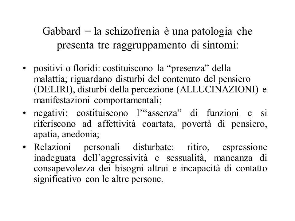 Gabbard = la schizofrenia è una patologia che presenta tre raggruppamento di sintomi: positivi o floridi: costituiscono la presenza della malattia; ri