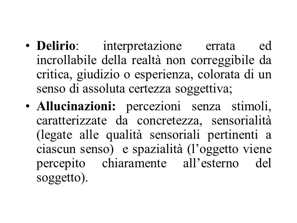 Delirio: interpretazione errata ed incrollabile della realtà non correggibile da critica, giudizio o esperienza, colorata di un senso di assoluta cert