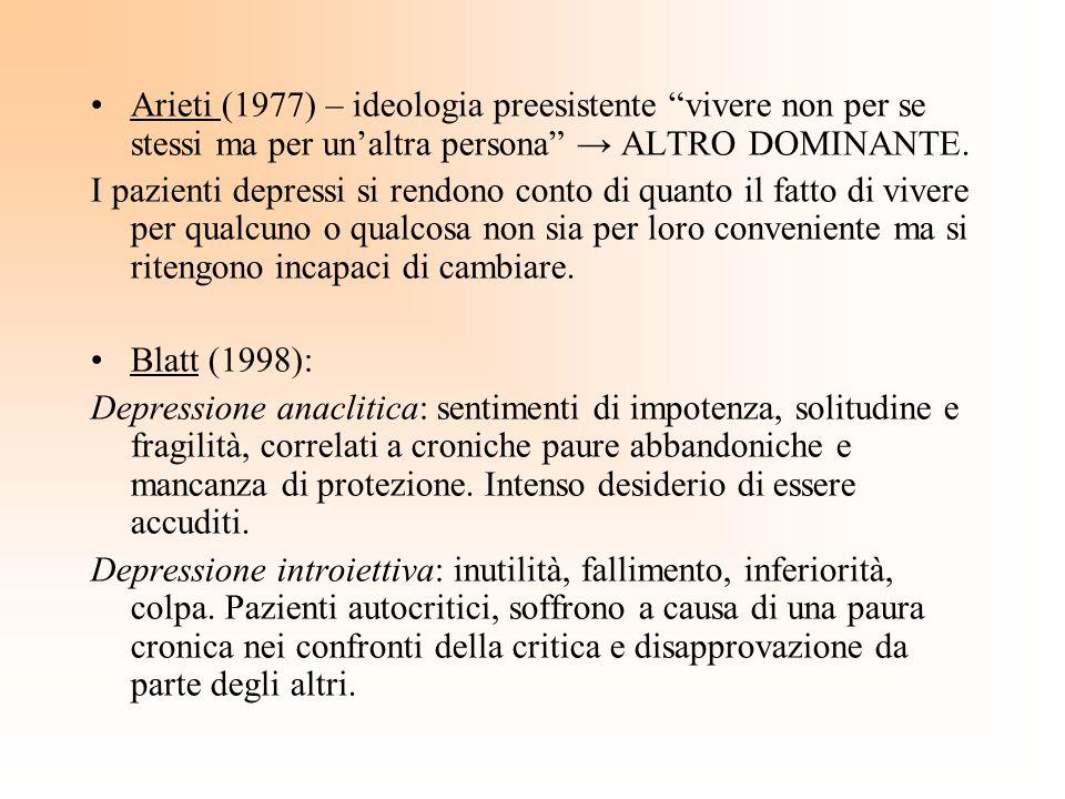 Arieti (1977) – ideologia preesistente vivere non per se stessi ma per unaltra persona ALTRO DOMINANTE. I pazienti depressi si rendono conto di quanto