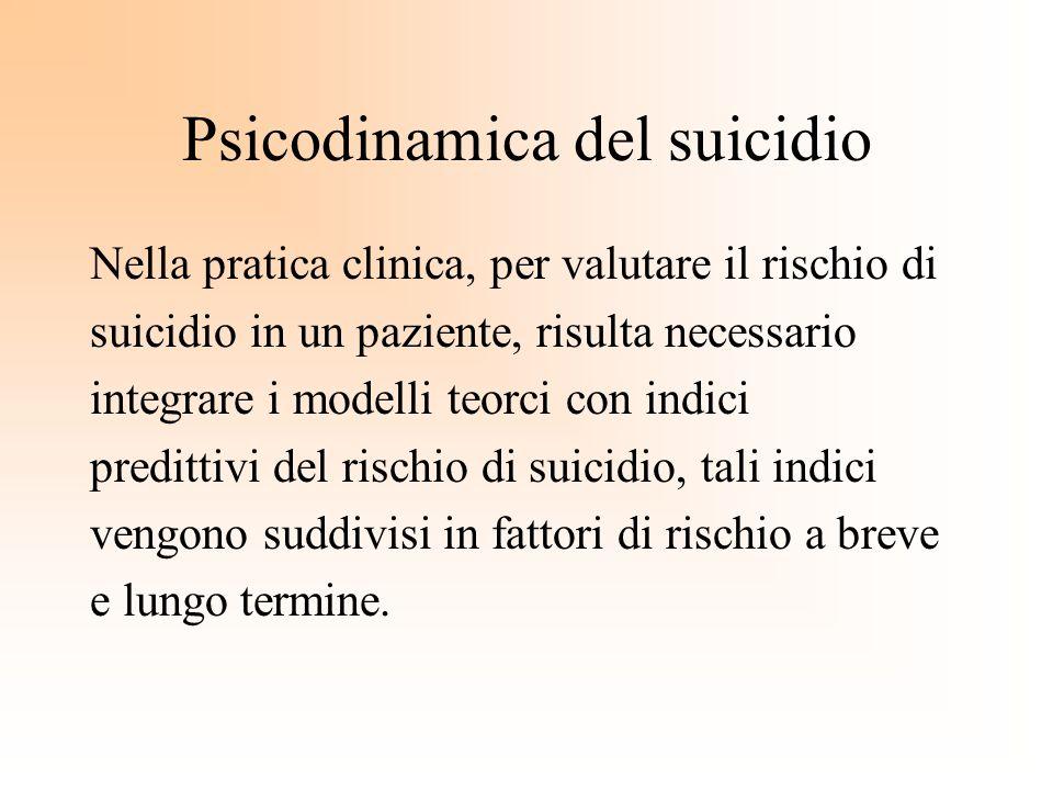 Psicodinamica del suicidio Nella pratica clinica, per valutare il rischio di suicidio in un paziente, risulta necessario integrare i modelli teorci co